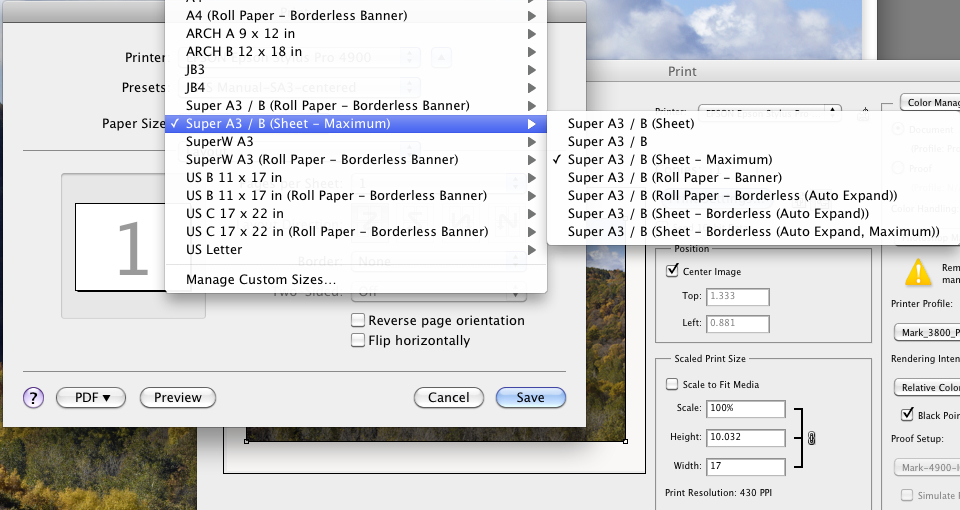 Paper settings for sheets