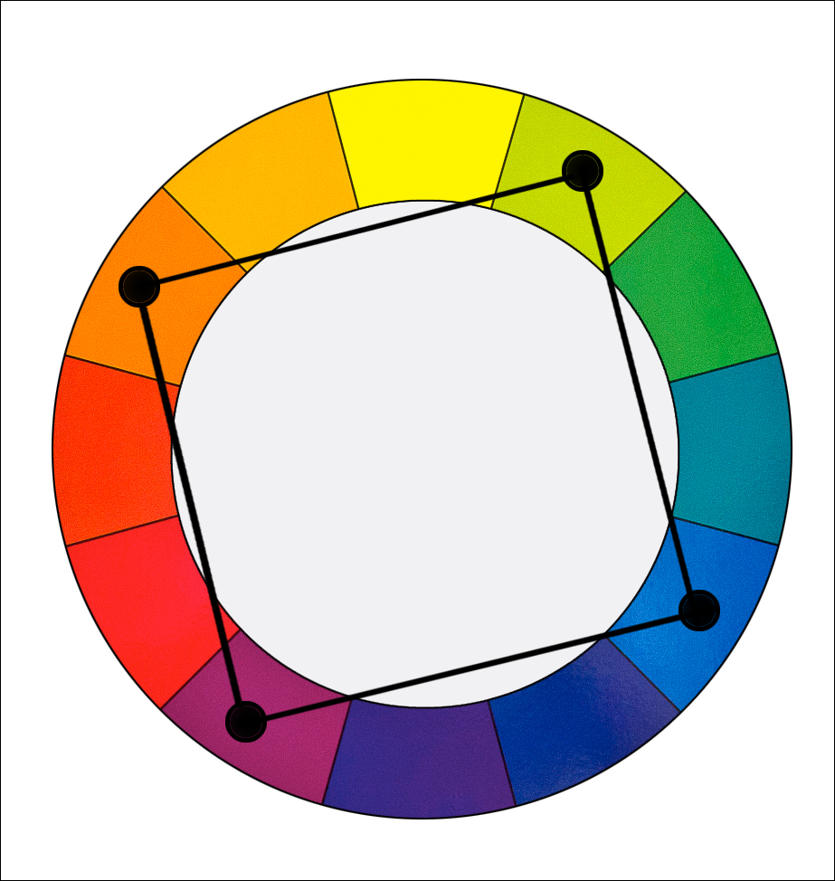 In A Square Color Harmony We Use Combination Of Four Colors Equally Spaced Around The Wheel For Example Orange Yellow Green Blue And Violet