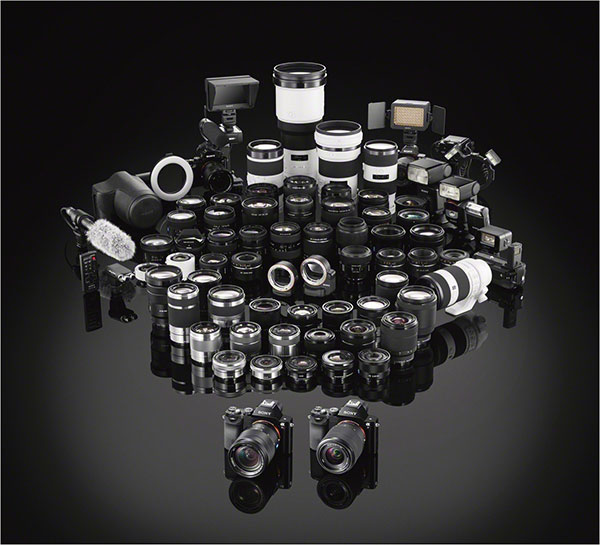 Large amount of camera lenses