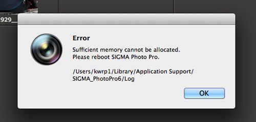 Sigma DP2 Quattro Sufficient memory cannot be allocated