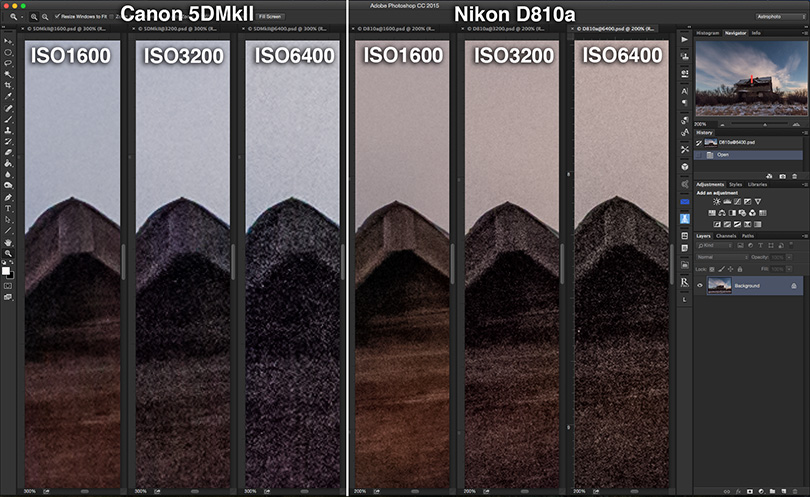 NIGHTSCAPE NOISE vs ISO COMPARISON - Canon 5DMkII vs Nikon D810a