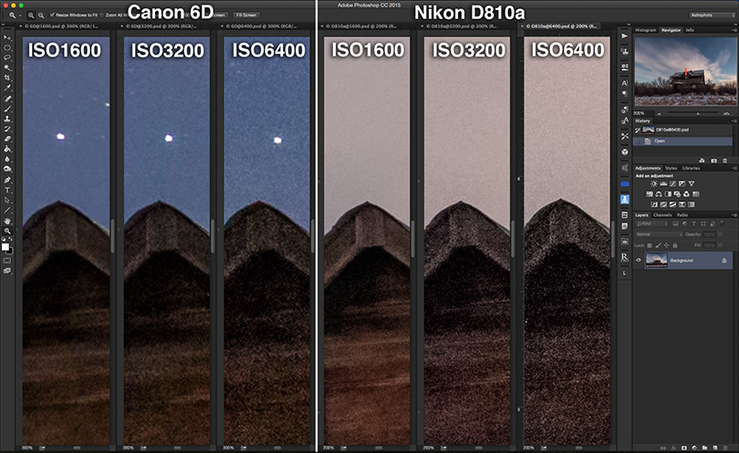 NIGHTSCAPE NOISE COMPARISON - Canon 6D vs Nikon D810a