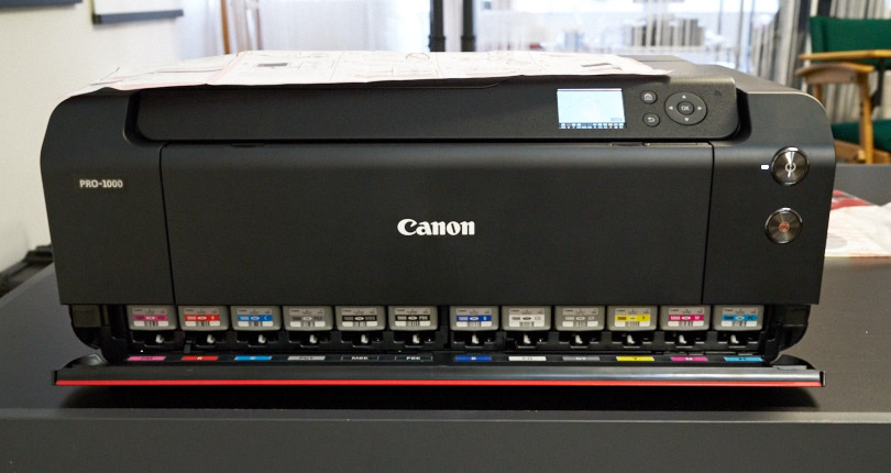 The Canon Pro 1000 with the ink installed. Notice the different ink color set.