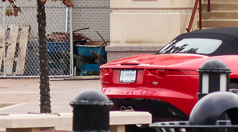 Crop from above of the red car