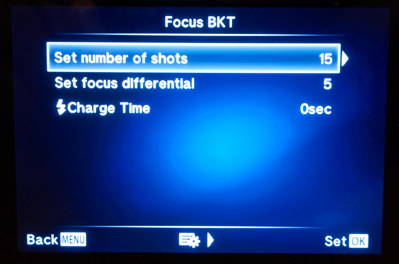Focus bracketing menu