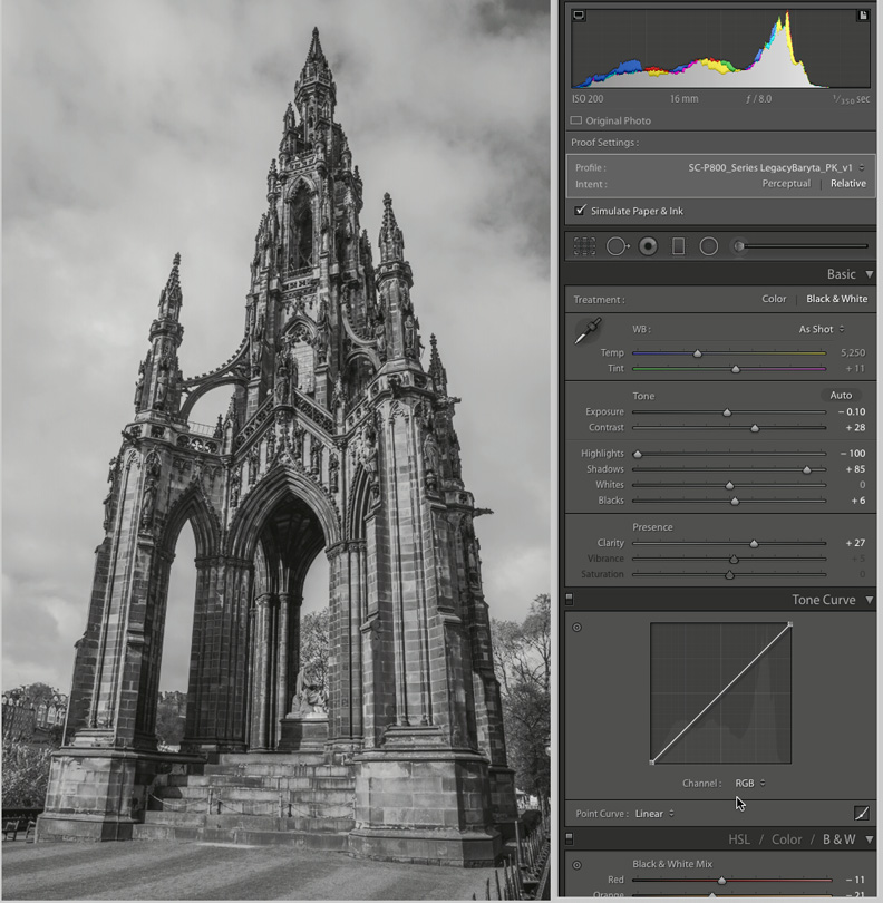 Figure 15 Scott Monument, Edinburgh, adjusted for Legacy Baryta paper