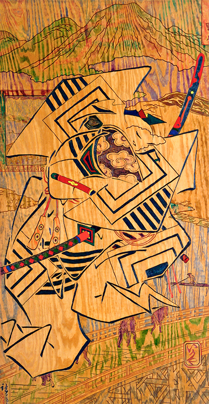 Mark Lindquist, Sudden Reign, painted relief from photo montage transfer, carved and painted, 1990, 4'W x 8'H, Photo: John McFadden/Lindquist Studios