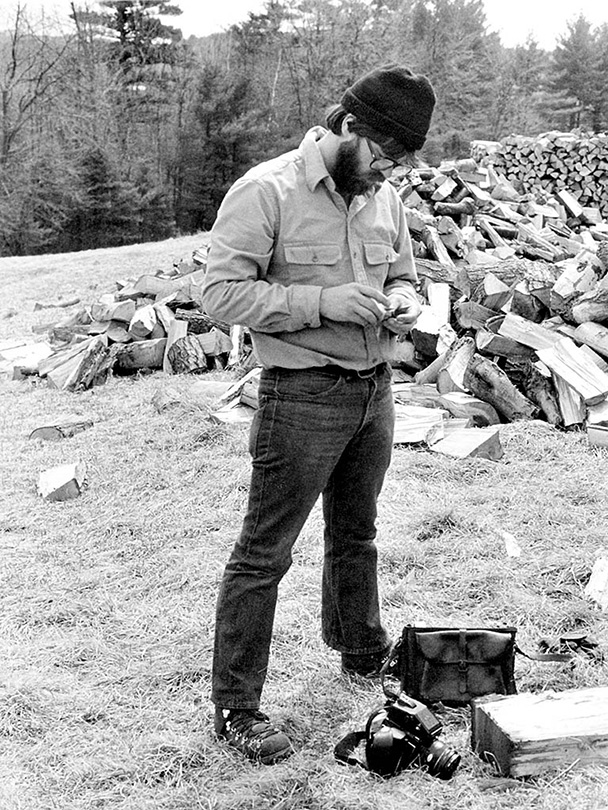 Mark Lindquist, Preparing film for the film cassette of his Mamiya M645 at the MacDowell Colony, Peterborough, NH, 1980
