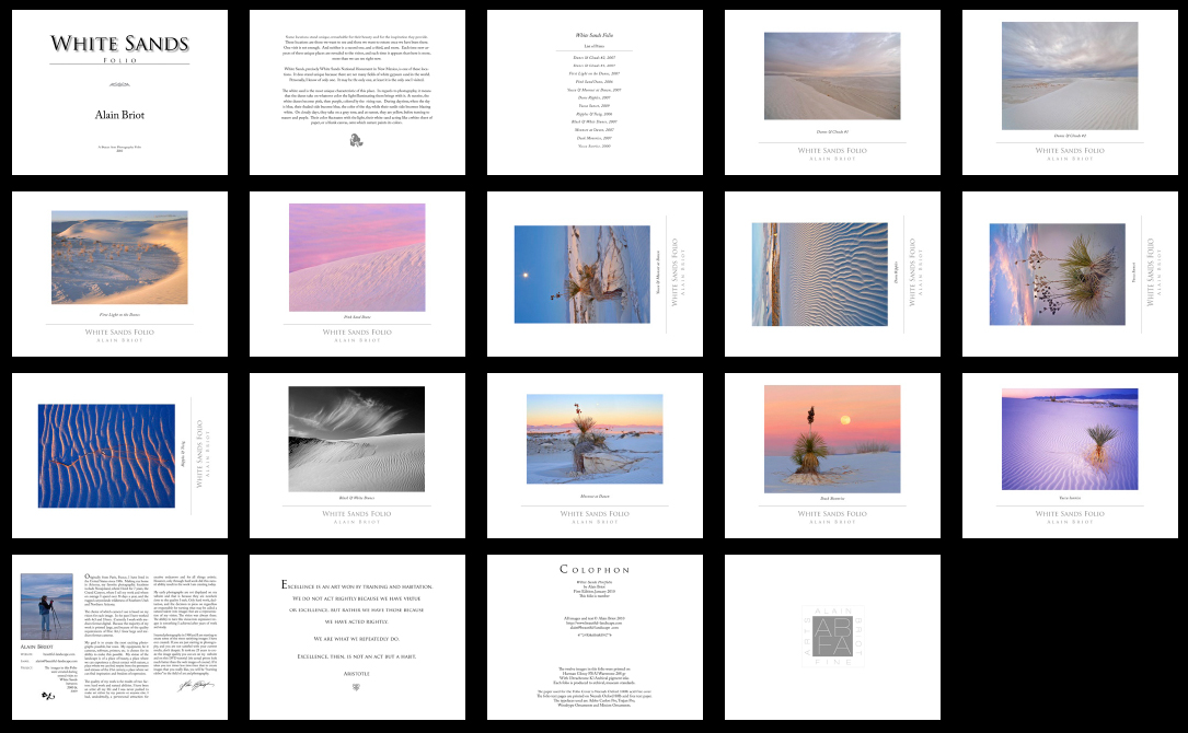 All the pages featured in the White Sands Folio