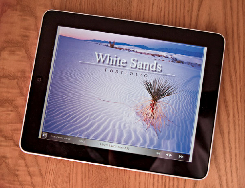 The iPad version of the White Sands Folio