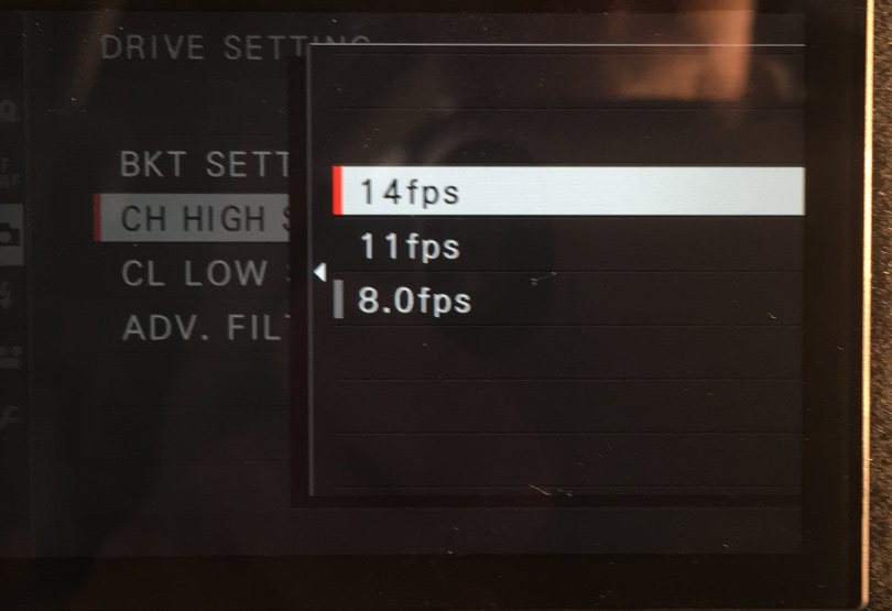 The continuous shooting menu. Note - 14ps is only available when using the electronic shutter