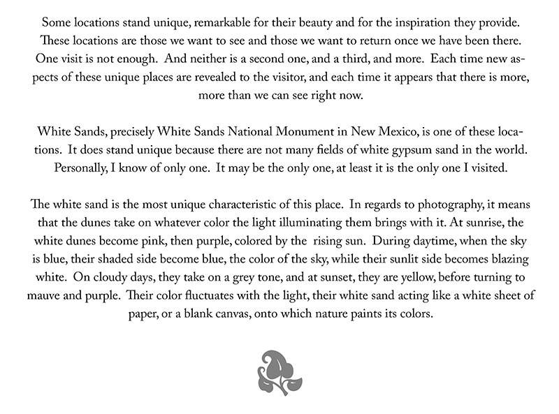 The project statement featured in the White Sands Folio