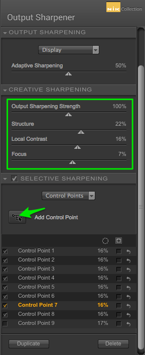 Creative Sharpening Settings