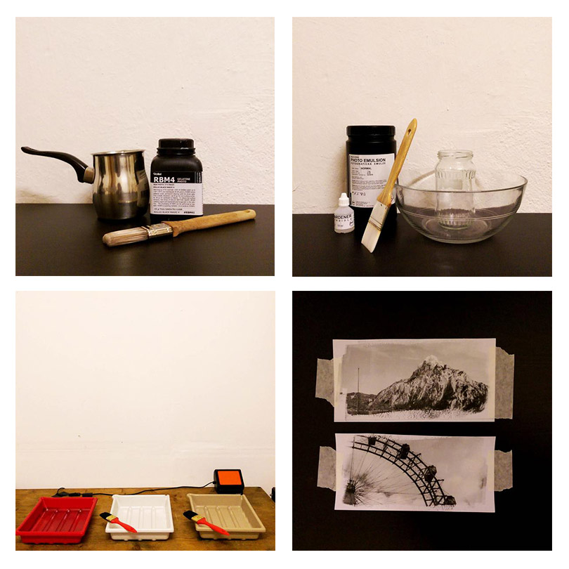 Darkroom Equipment and Test Strips on Paper