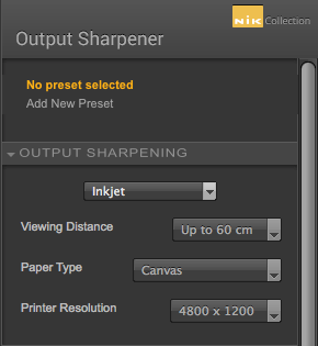 Nik Output Sharpener Settings