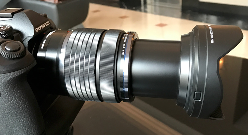 the 12-100mm lens at 100mm, it extends