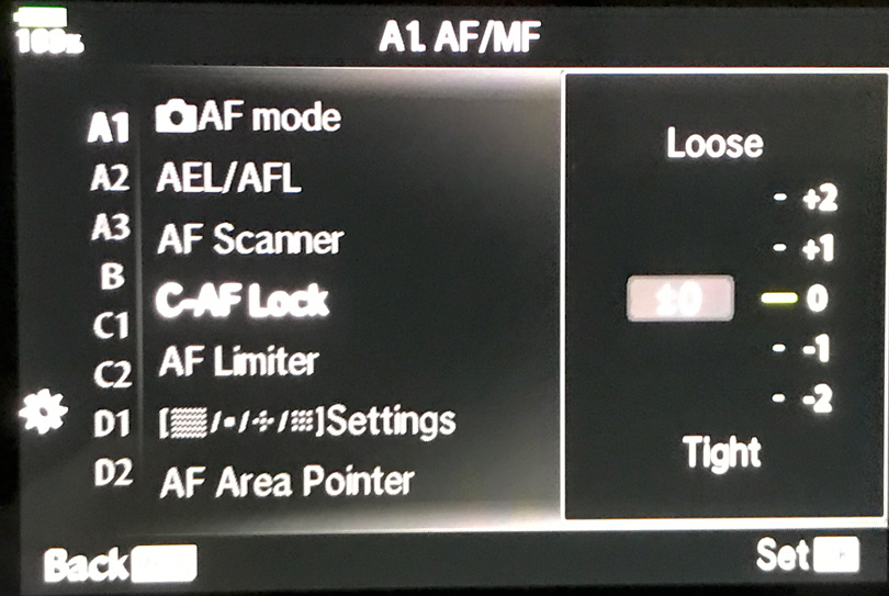 Setting for modifying the CAF parameters