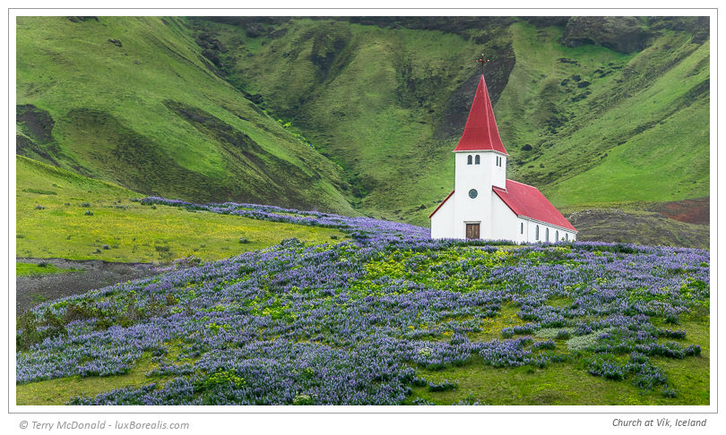 Church at Vík, Iceland – 200mm (equiv.) ƒ4@1/125 ISO200 EV–⅓