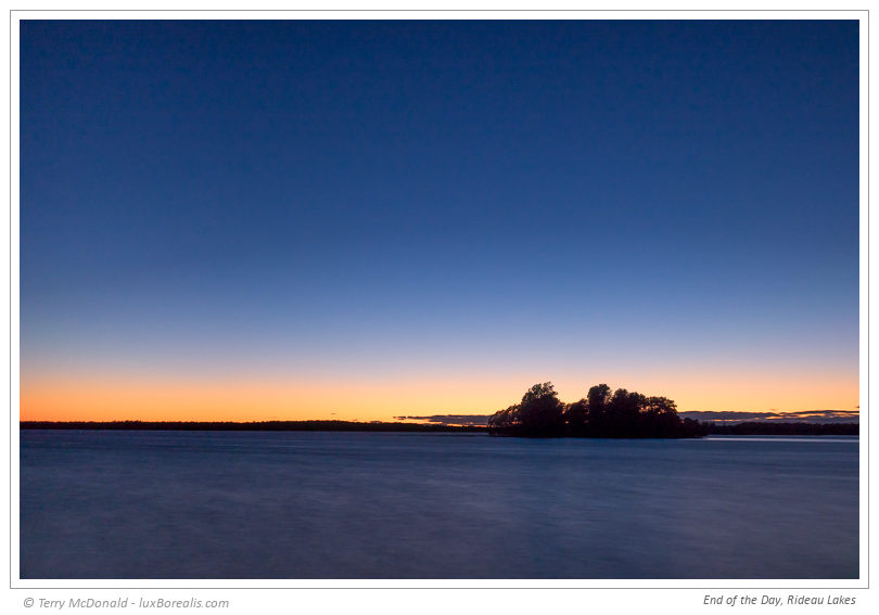 End of the Day, Rideau Lakes – 35mm (equiv.) ƒ4@30sec. ISO100 EV0
