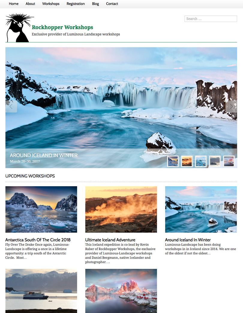 Rockhopper workshops - exclusive provider of workshops for Luminous-Landscape.com