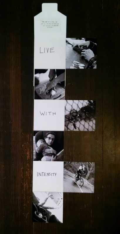 unfolded booklet with six photos
