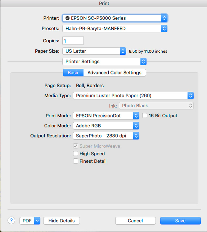 Figure 3. Printer Manages Color Settings in Epson Driver