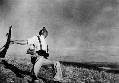 Robert Capa's famous Falling Soldier photograph, probably staged.