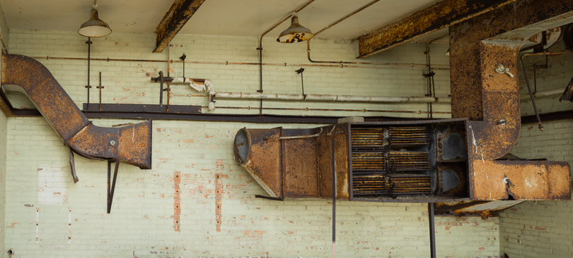 Rusting ductwork in AWRE laboratory Orfordness