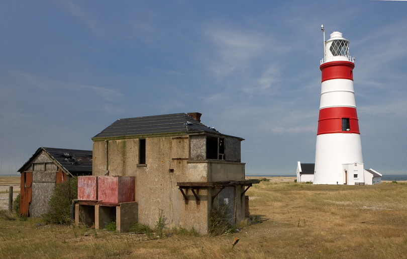 Orfordness lighthouse and abandoned coast guard station