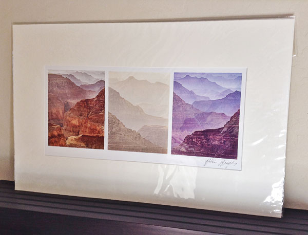 Matted horizontal Triptych with a single mat opening in my gallery.