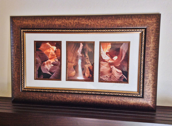 Matted and framed horizontal triptych with a triple mat opening in my gallery.