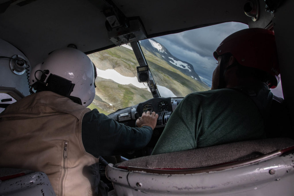 Landing the six-seater plane on a lake during our adventure in Katmai National Preserve, Alaska.