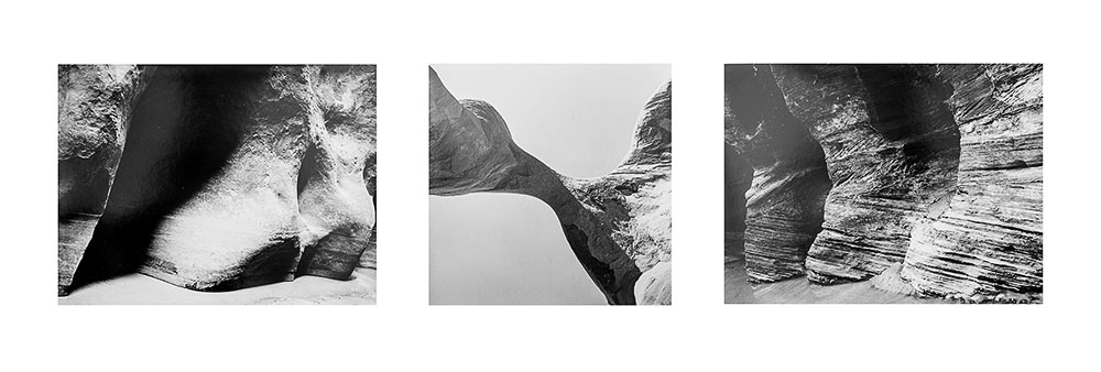 Canyon forms Black & White Triptych #1