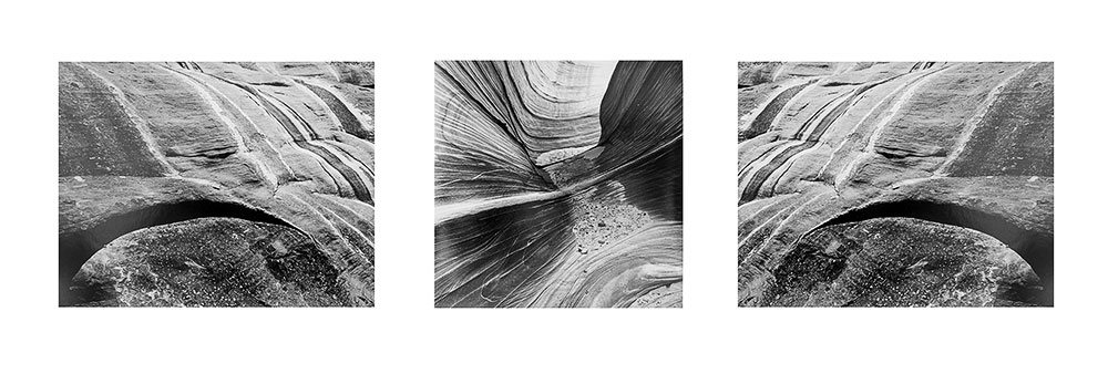 Canyon forms Black & White Triptych #2