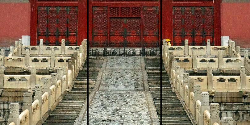 "Forbidden City Rain. This is a preliminary design for a triptych, motivated by Alain's article. Max size on my 17x22"" printer as a single image would be 22 inches wide. As a triptych of three portrait images, it could potentially go up to over twice that width (3 x 17 or 51 inches wide)—although the original image resolution probably won't support that much of a blow-up. We'll see."