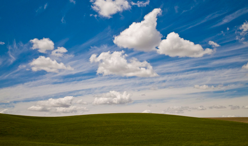 Green Hills and Beautiful Clouds