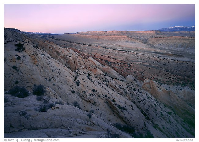 Waterpocket Fold, looking north from Strike Valley Overlook, dusk.