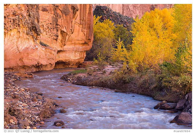 Fremont River in autumn, afternoon.