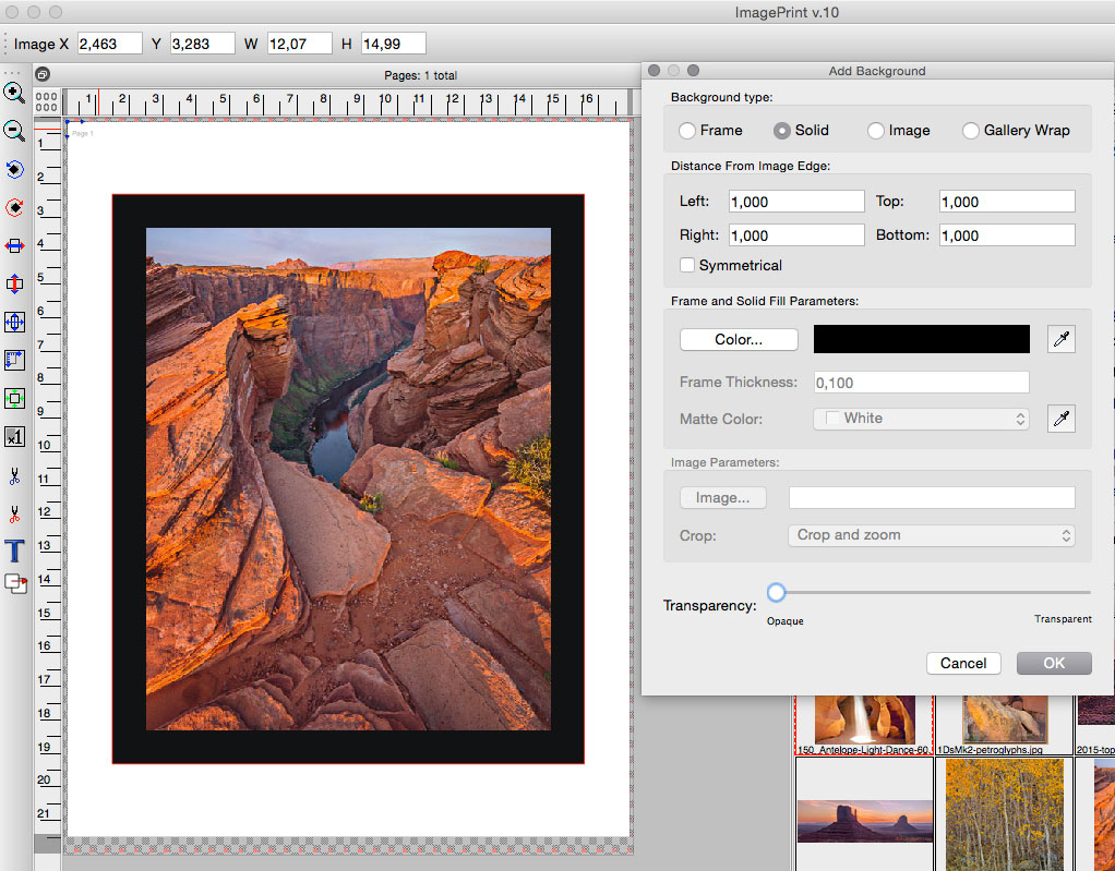 The Add Background dialog box. In this example a one inch black border was added to the photograph in order to create a gallery wrap. However, whatever your preferences are, you can add a transparent border, a solid border or extent the image area by using the controls provided in the Add Background dialog box.