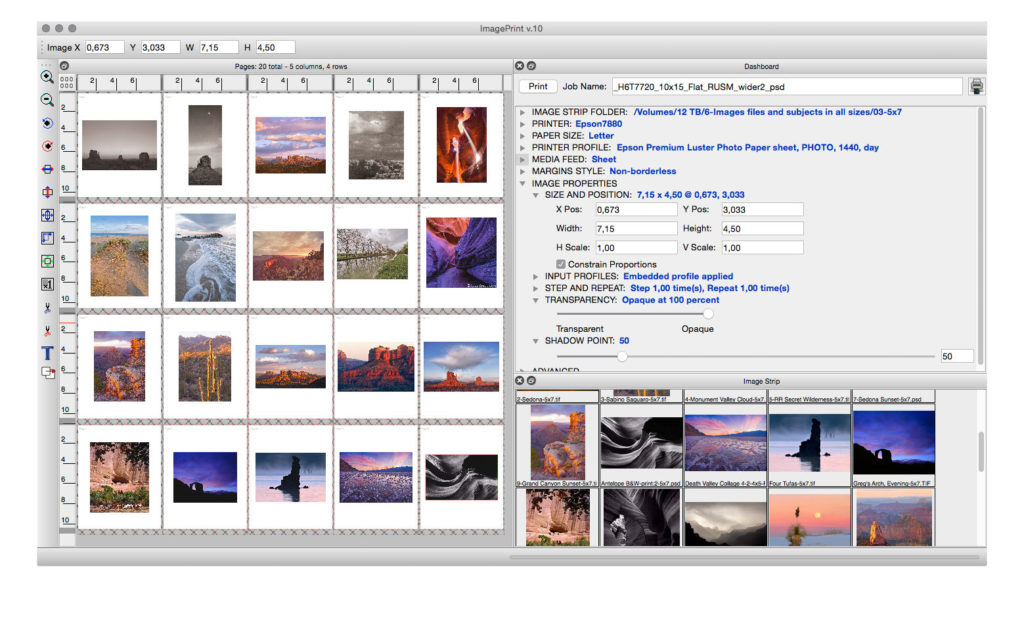 The layout window with a 20-pages print job. You add pages by clicking and dragging on the top-left Pages icon. You can select images from the Image Strip at bottom right and copy and paste photographs from ImagePrint.