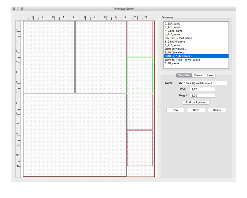 The templates Editor from which you can either select a pre-existing template or design your own.