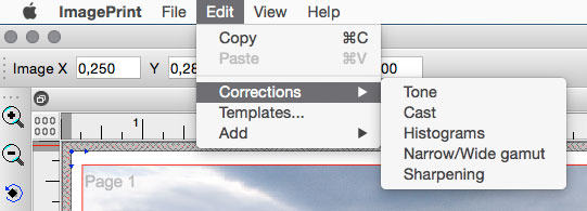 The ImagePrint Corrections Menu Commands