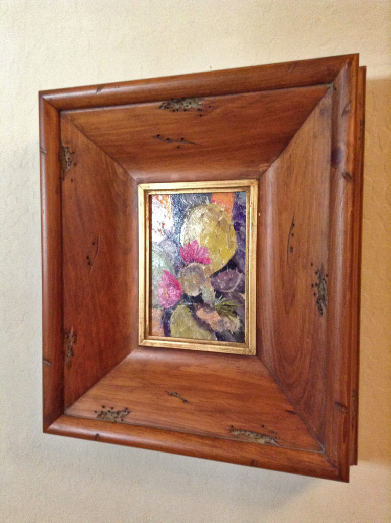 Prickly Pear Cactus oil painting in a wooden frame