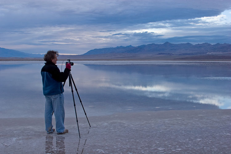 Alain photographing in Death Valley. Photograph by Patty Hankins