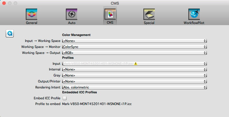 Figure 55. CMS Settings in SilverFast 8 for No Colour Management