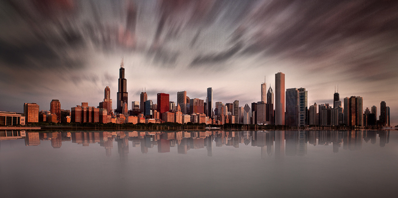 Chicago Skyline Long Exposure Red