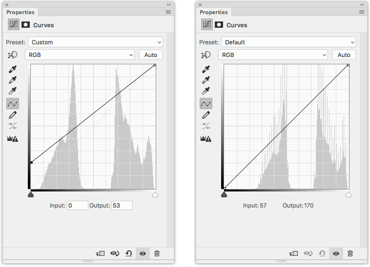 Left: The Photoshop Curves used to set the black point for this image and Right: The Photoshop Curves diagram for this image after the black point was set.