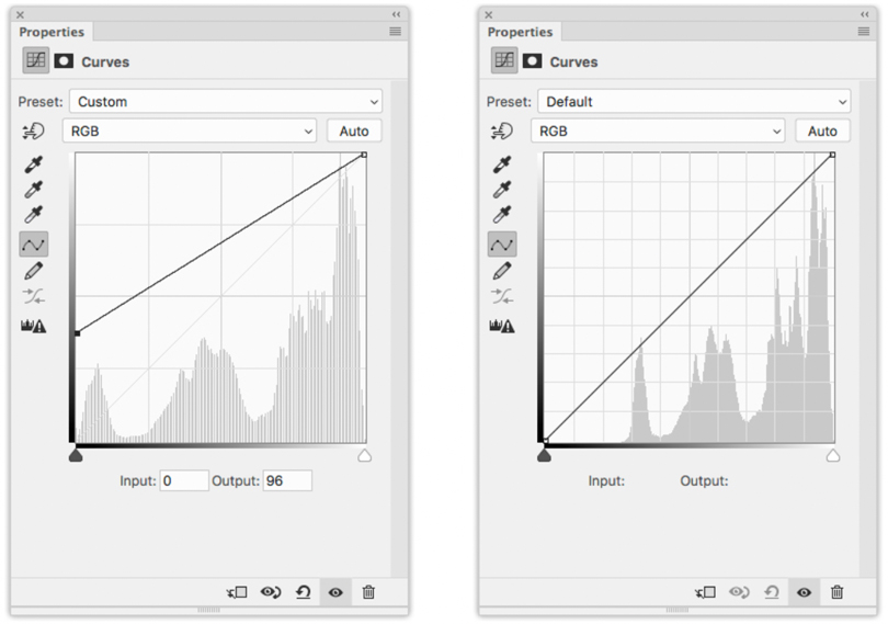 Left: The Photoshop Curves used to set the black point for this image. Right: The Photoshop Curves diagram for this image after the black point was set.