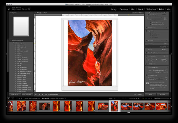 The Lightroom Interface in the Print Module