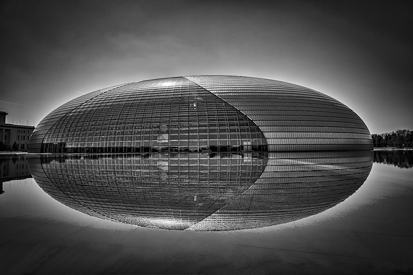 "National Center for the Performing Arts in Beijing, also known as ""The Egg"", viewed from the side."